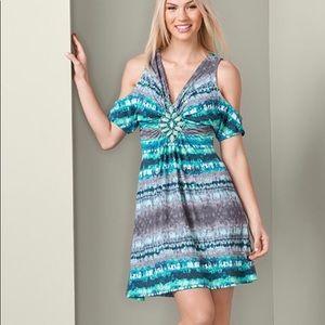 NWT Venus Tie Dye Cold Shoulder Dress Small